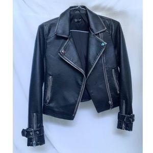 Women's Topshop black faux leather jacket